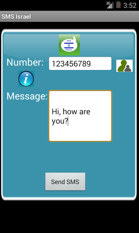 Free SMS Israel Android App Screenshot Launch Screen