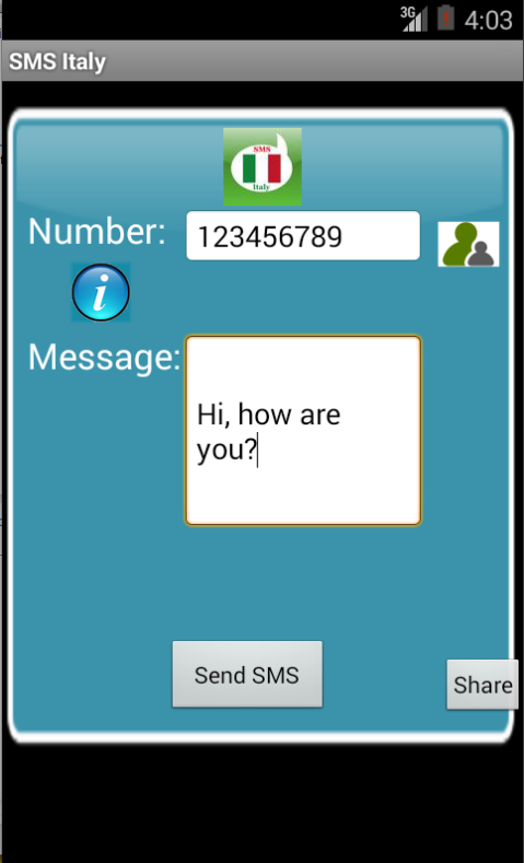 Free SMS Italy Android App Screenshot Launch Screen