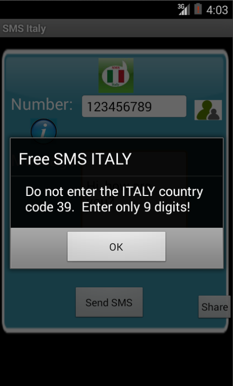 Free SMS Italy Android App Screenshot Number Screen