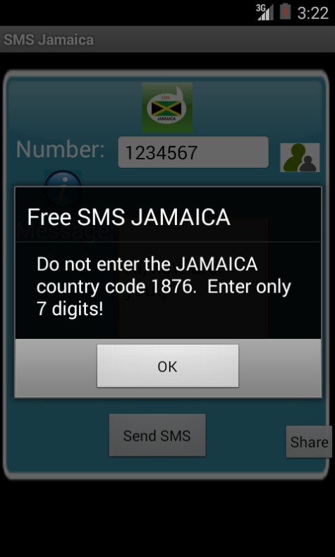 Free SMS Jamaica Android App Screenshot Number Screen