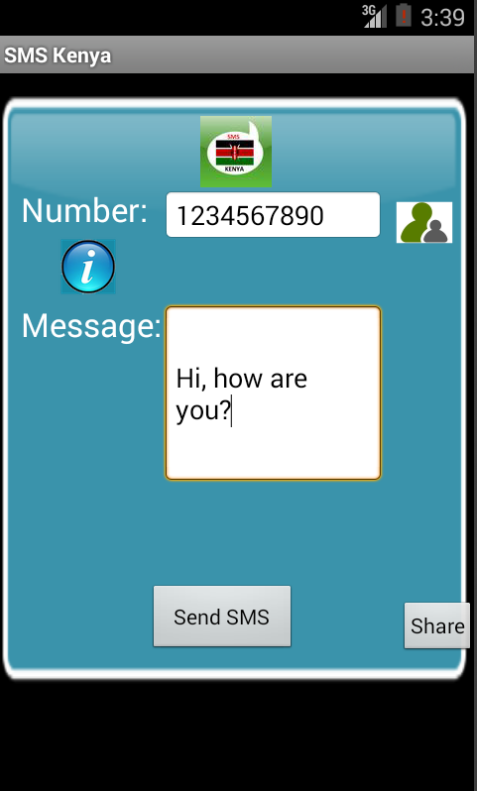 Free SMS Kenya Android App Screenshot Launch Screen
