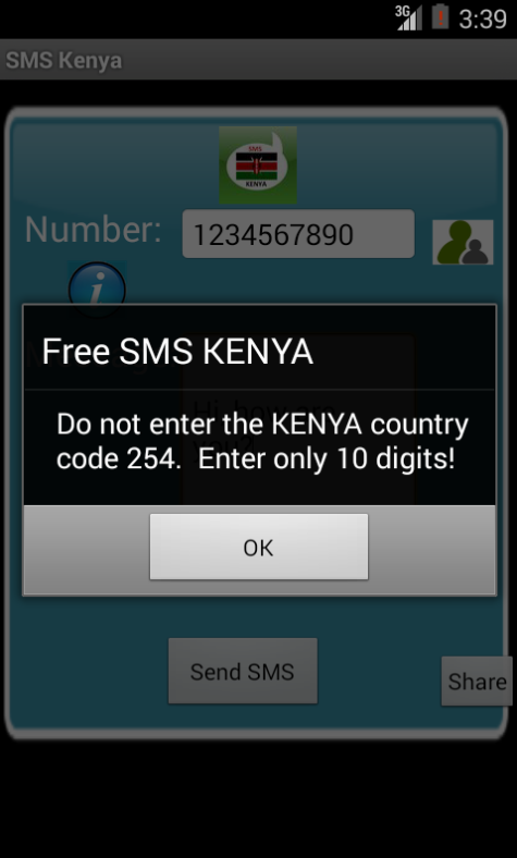Free SMS Kenya Android App Screenshot Number Screen