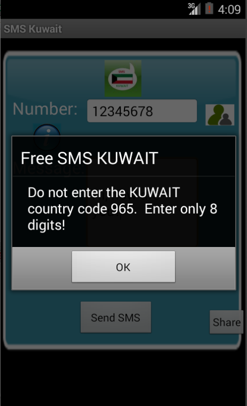 Free SMS Kuwait Android App Screenshot Number Screen