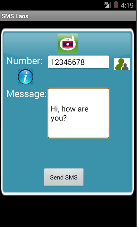 Free SMS Laos Android App Screenshot Launch Screen