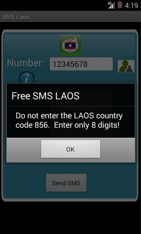 Free SMS Laos Android App Screenshot Number Screen