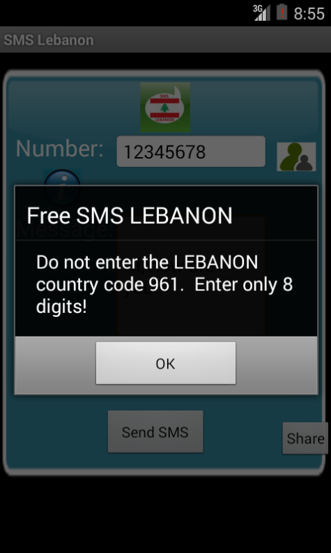 Free SMS Lebanon Android App Screenshot Number Screen
