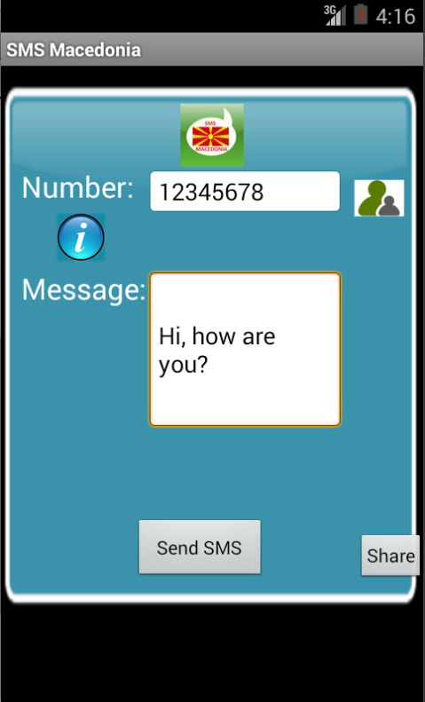 Free SMS Macedonia Android App Screenshot Launch Screen