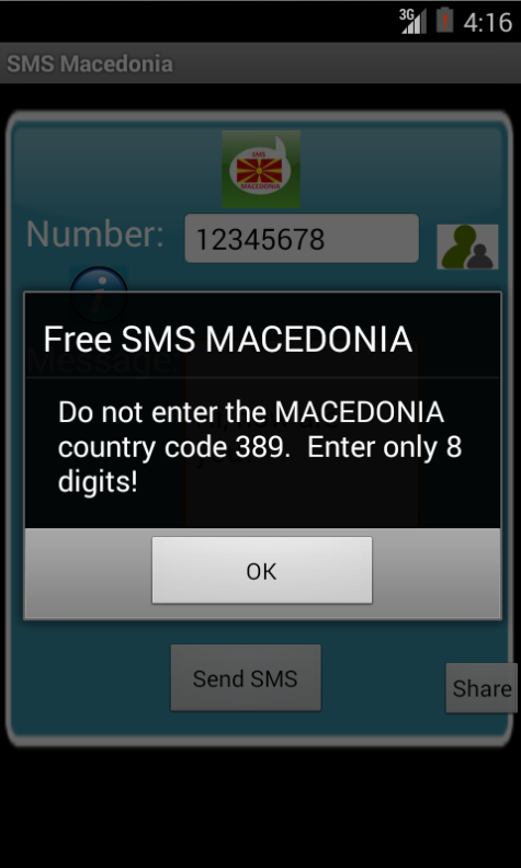Free SMS Macedonia Android App Screenshot Number Screen