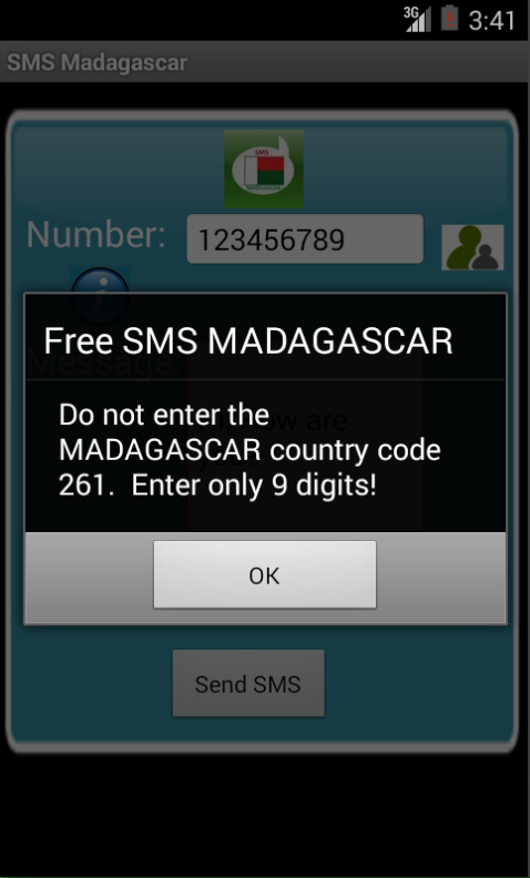 Free SMS Madagascar Android App Screenshot Number Screen