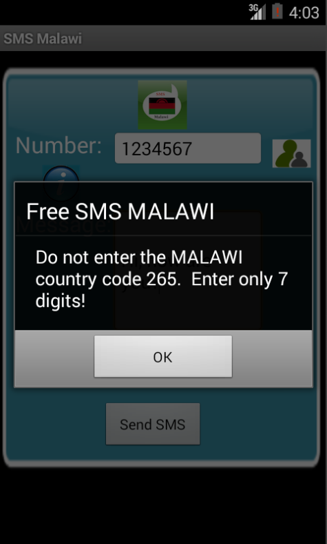 Free SMS Malawi Android App Screenshot Number Screen