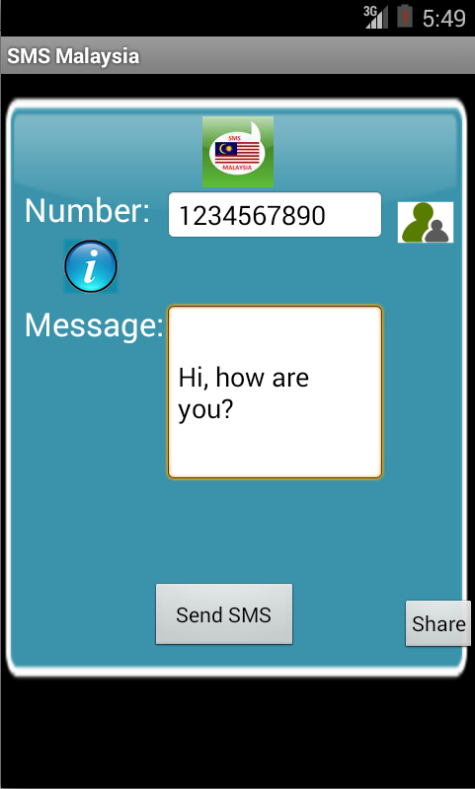 Free SMS Malaysia Android App Screenshot Launch Screen