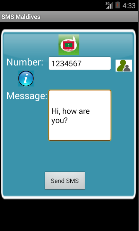 Free SMS Maldives Android App Screenshot Launch Screen