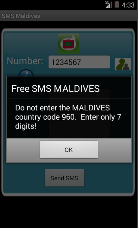 Free SMS Maldives Android App Screenshot Number Screen