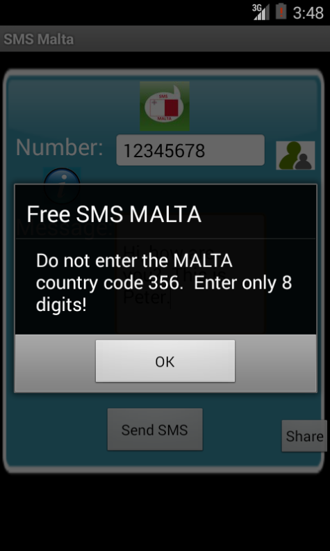 Free SMS Malta Android App Screenshot Number Screen