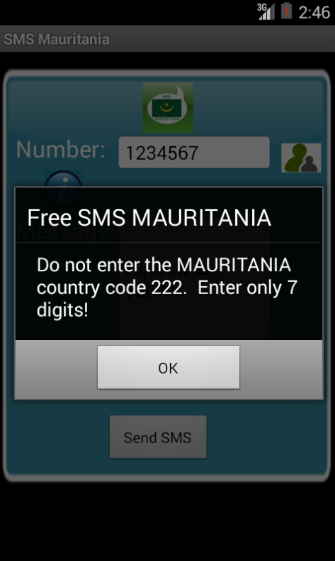 Free SMS Mauritania Android App Screenshot Number Screen