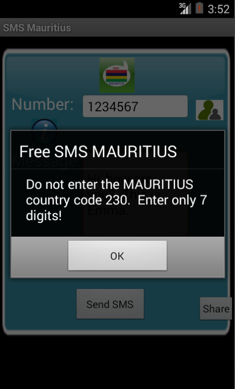 Free SMS Mauritius Android App Screenshot Number Screen