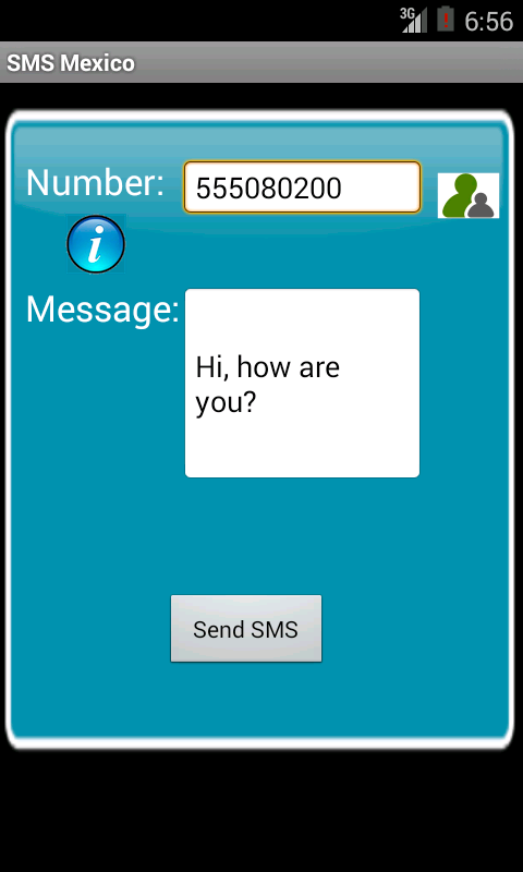 Free SMS Mexico Android App Screenshot Launch Screen