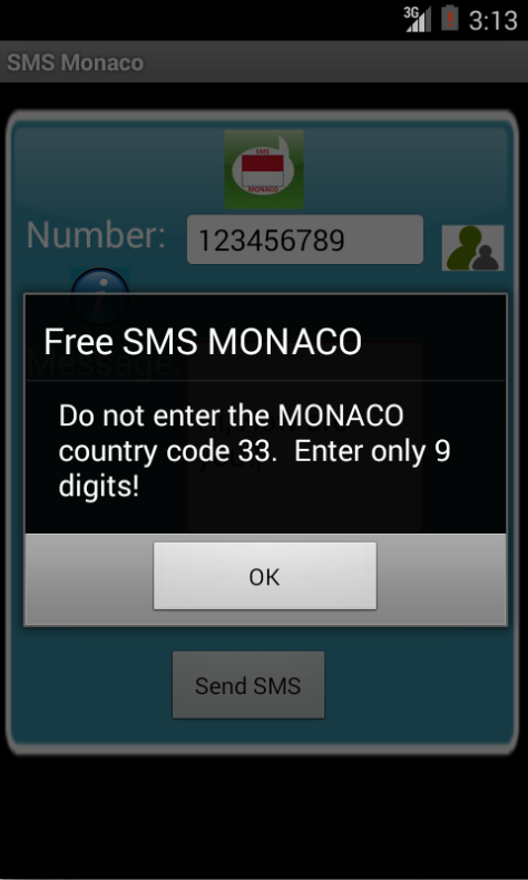 Free SMS Monaco Android App Screenshot Number Screen