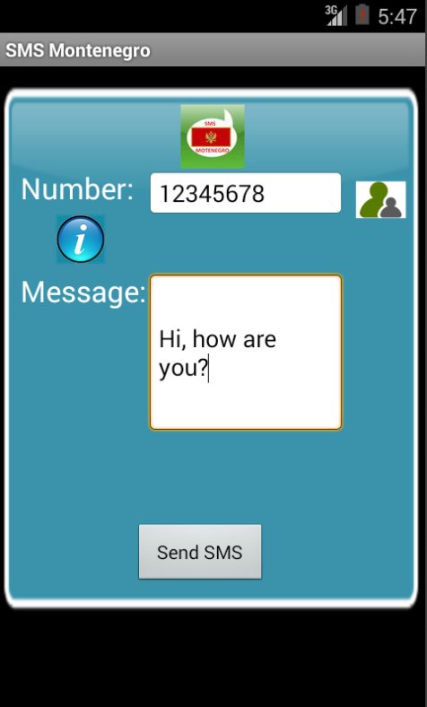 Free SMS Montenegro Android App Screenshot Launch Screen