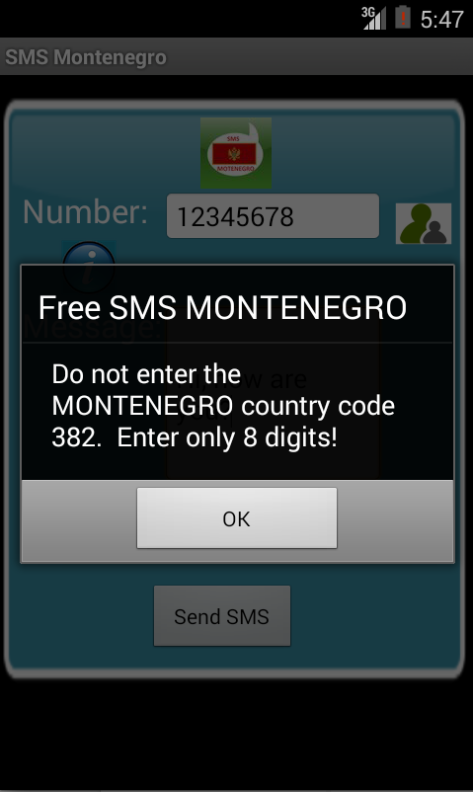Free SMS Montenegro Android App Screenshot Number Screen