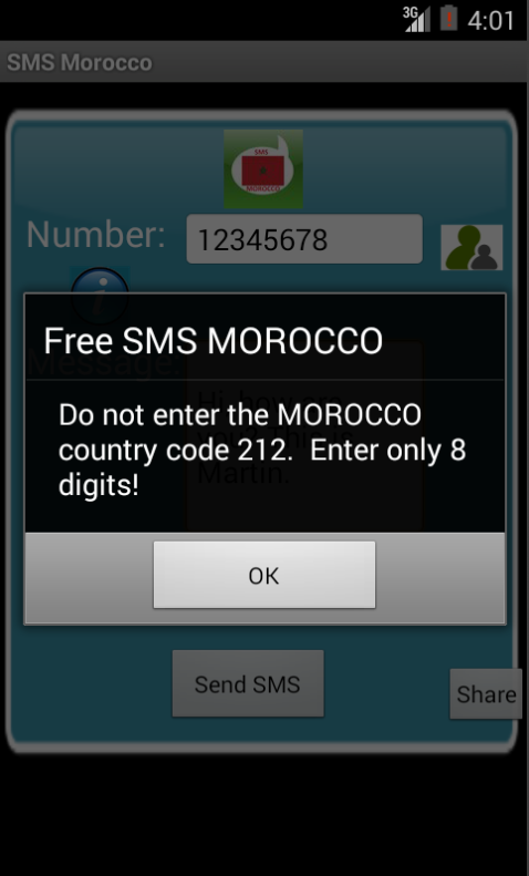 Free SMS Morocco Android App Screenshot Number Screen