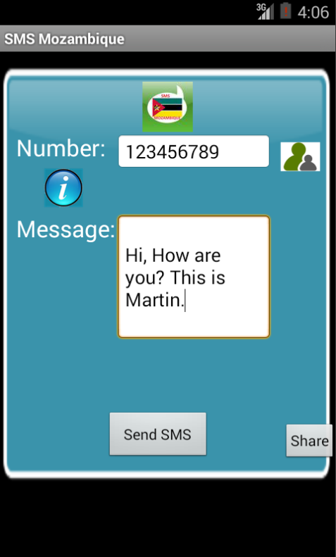 Free SMS Mozambique Android App Screenshot Launch Screen