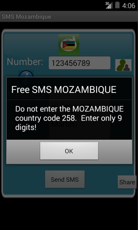 Free SMS Mozambique Android App Screenshot Number Screen