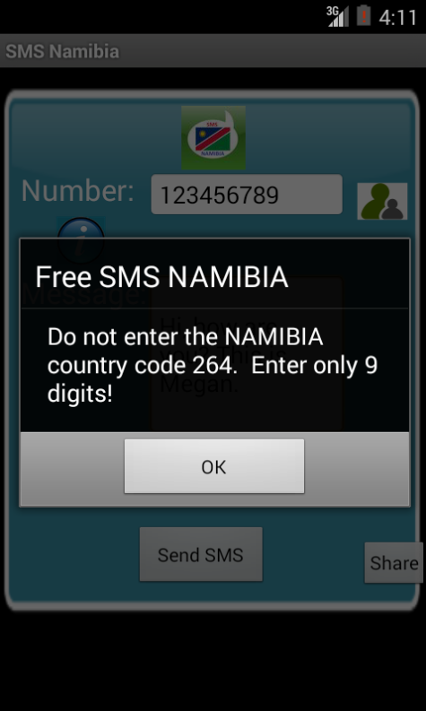 Free SMS Namibia Android App Screenshot Number Screen