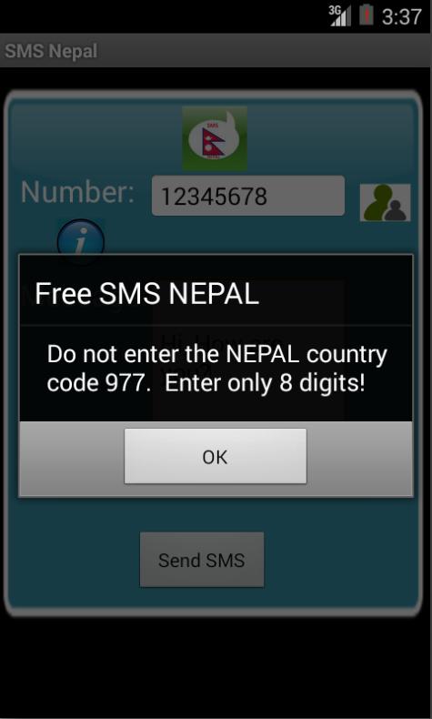 Free SMS Nepal Android App Screenshot Number Screen