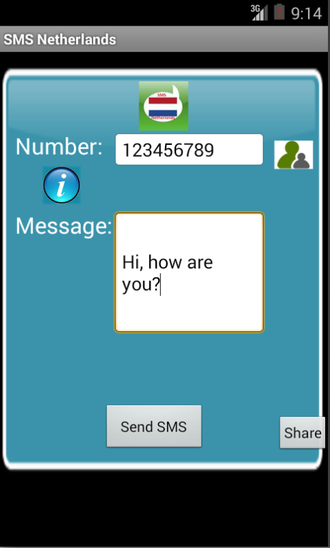 Free SMS Netherlands Android App Screenshot Launch Screen