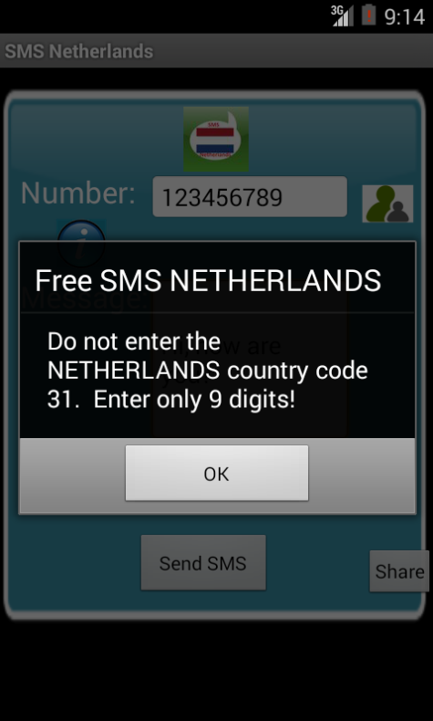 Free SMS Netherlands Android App Screenshot Number Screen
