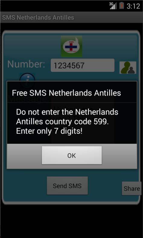 Free SMS Netherlands Antilles Android App Screenshot Number Screen