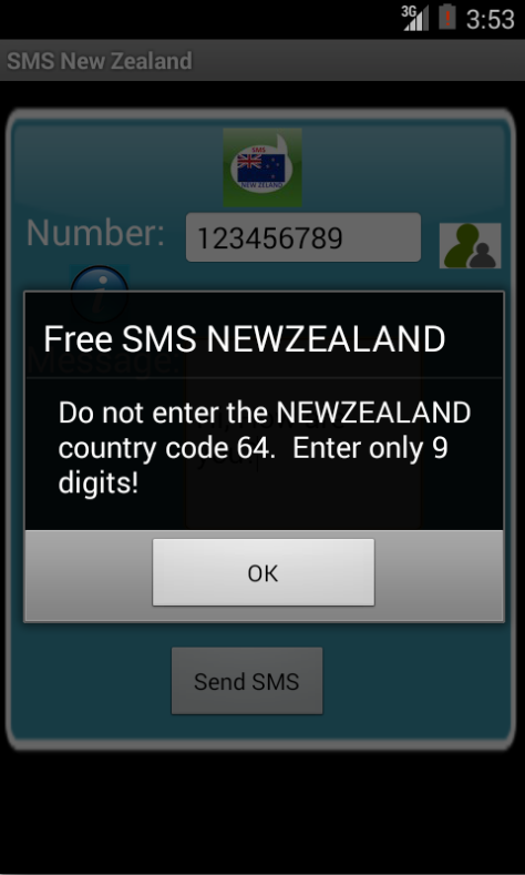 Free SMS New Zealand Android App Screenshot Number Screen