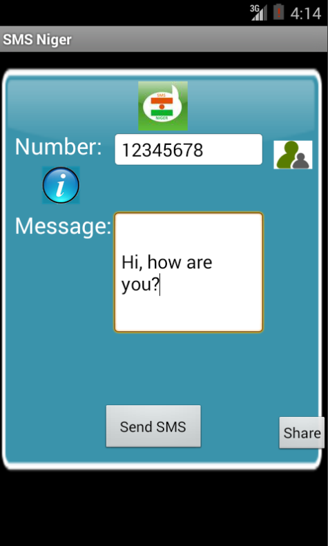 Free SMS Niger Android App Screenshot Launch Screen