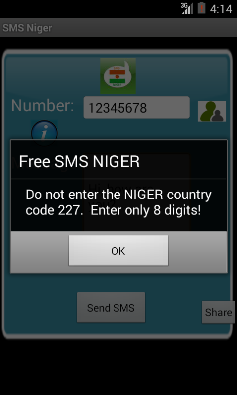 Free SMS Niger Android App Screenshot Number Screen