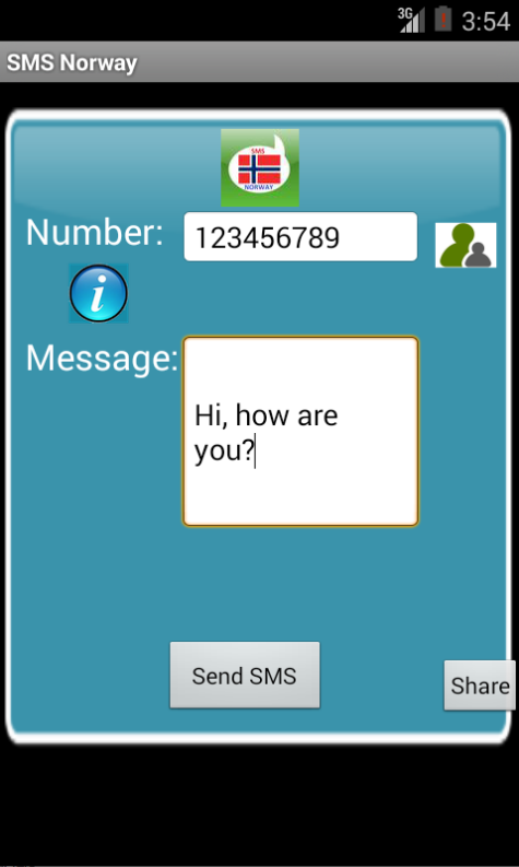 Free SMS Norway Android App Screenshot Launch Screen
