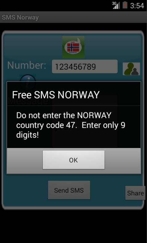 Free SMS Norway Android App Screenshot Number Screen