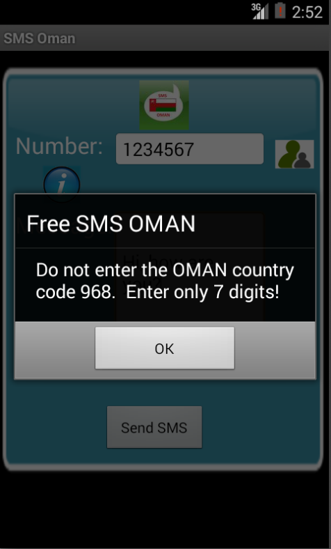Free SMS Oman Android App Screenshot Number Screen