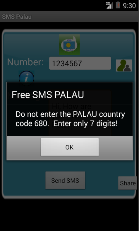 Free SMS Palau Android App Screenshot Number Screen