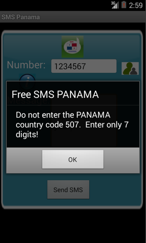 Free SMS Panama Android App Screenshot Number Screen