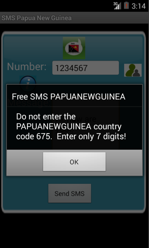 Free SMS Papua New Guinea Android App Screenshot Number Screen