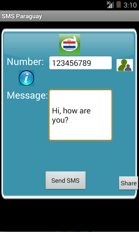 Free SMS Paraguay Android App Screenshot Launch Screen