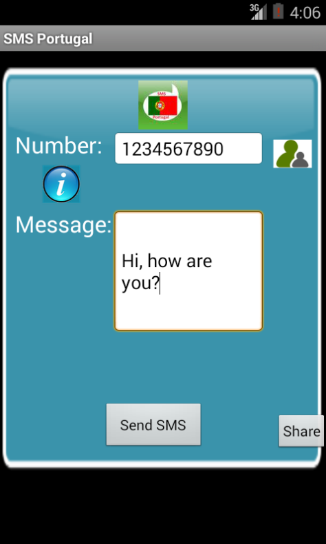 Free SMS Portugal Android App Screenshot Launch Screen