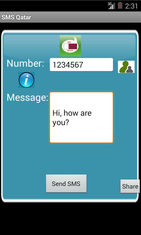 Free SMS Qatar Android App Screenshot Launch Screen