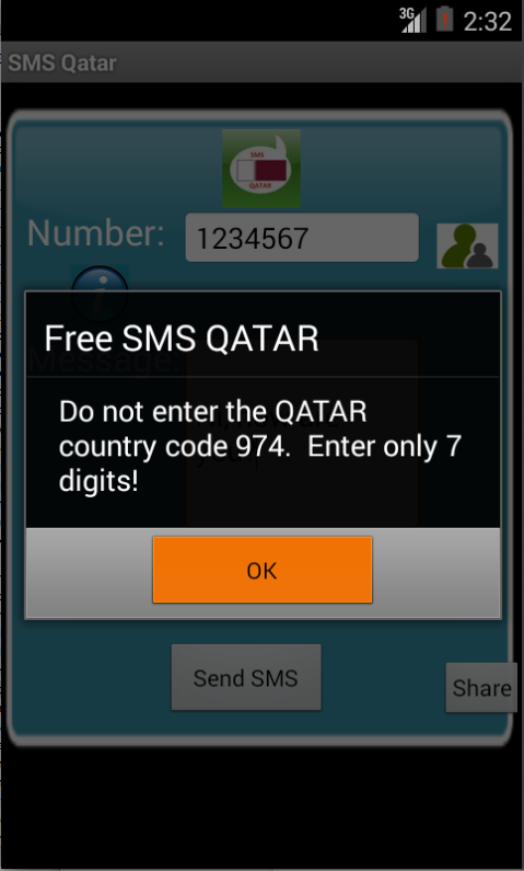 Free SMS Qatar Android App Screenshot Number Screen