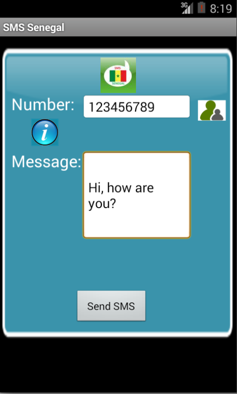 Free SMS Senegal Android App Screenshot Launch Screen