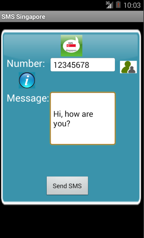 Free SMS Singapore Android App Screenshot Launch Screen