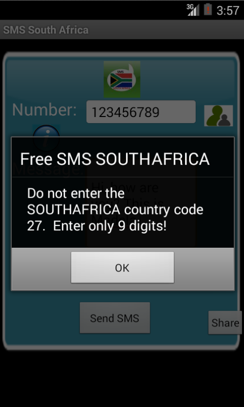 Free SMS South Africa Android App Screenshot Number Screen