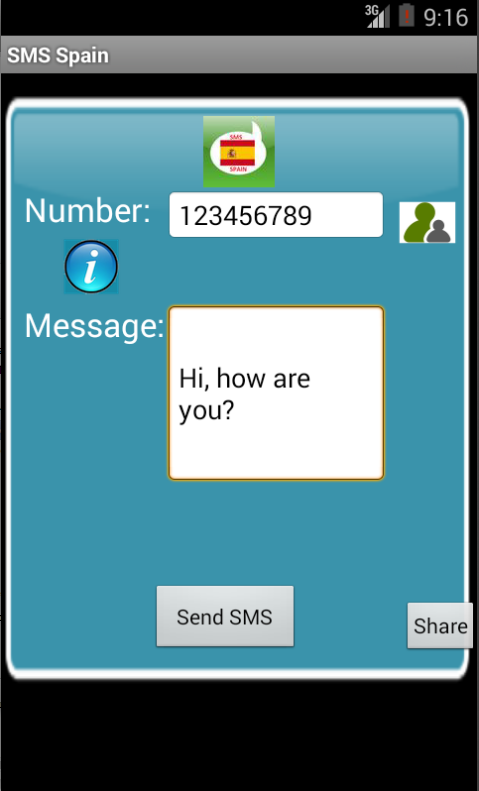 Free SMS Spain Android App Screenshot Launch Screen