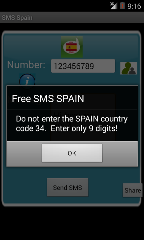 Free SMS Spain Android App Screenshot Number Screen